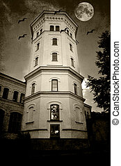 White tower - dilapidated white tower with bats and moon