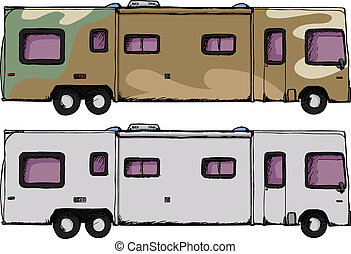 Long RV Camper - Long generic recreational vehicle isolated...