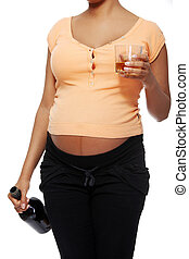 Pregnant woman in a bad habit - Front view closeup of a...