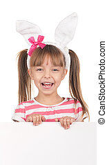 Girl with bunny ears - Easter concept image. Portrait of...