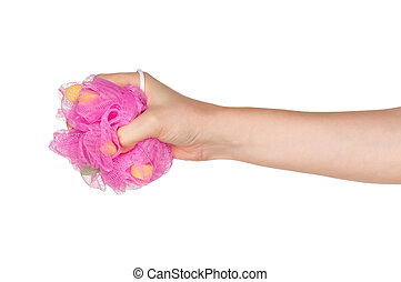 Hand with bath sponge - Woman hand with bath sponge isolated...