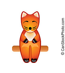 Fox toy - Balinese wood sit carved fox toy isolated