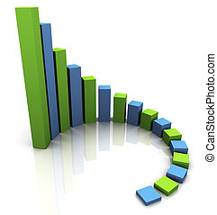 3d business chart - 3d render of circular progress bars....