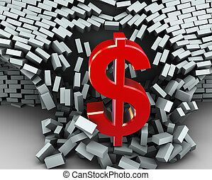 3d dollar symbol wall break