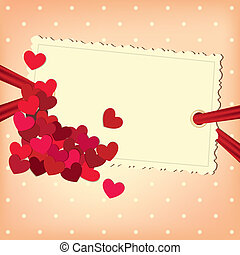 Hearts on the empty photo blank background