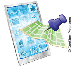 Phone map app concept - A road or city map flying out of a...