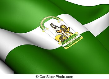 Flag of Andalusia, Spain. Close Up.