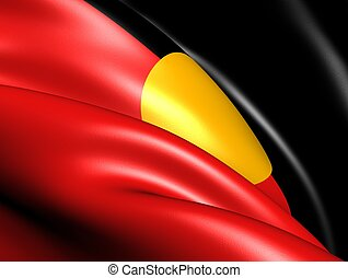 Australian Aboriginal Flag. Close Up.