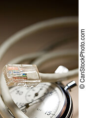 Ethernet cable and stopwatch