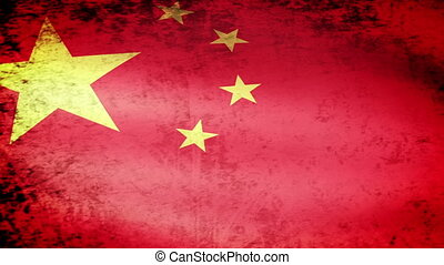 China Flag Waving, grunge