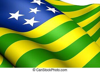 Flag of Goias, Brazil. Close Up.