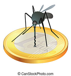 Mosquito on Euro coin