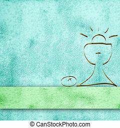 calyx, Pergaminho, fundo, primeiro, comunhão, Menino
