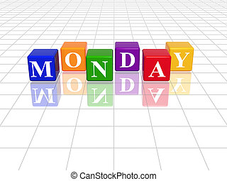 monday in 3d coloured cubes