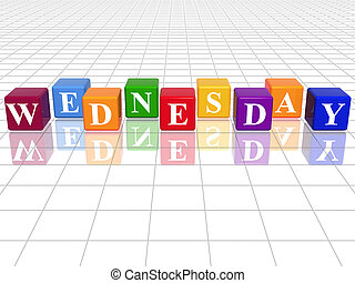 wednesday in 3d coloured cubes