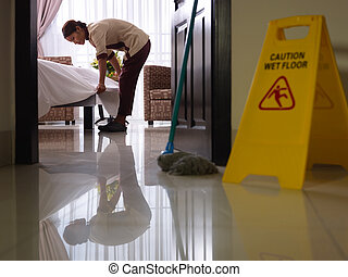 criada, trabajo, limpieza, lujo, hotel, habitación