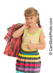 Smiling girl with shopping