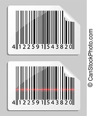 Barcode. Vector illustration. - Barcode icon with red laser...