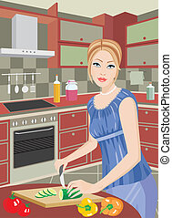 The young woman on kitchen cuts veg - Vector illustration,...