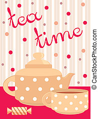 Card. Menu Tea service - Vector illustration, color full