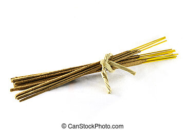 incense sticks - a bundle of incense sticks tied with...