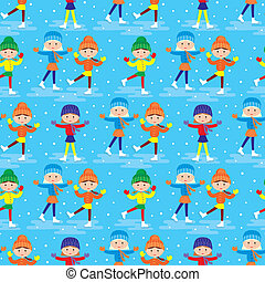 Seamless girls on a skating - Vector illustration, color...