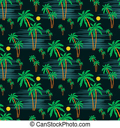 Seamless palm pattern - Vector illustration, color full