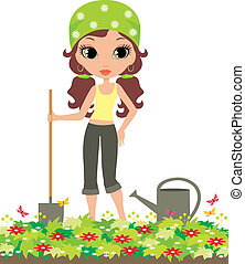 Girl the gardener.
