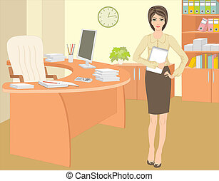 Businesswoman in office - Vector illustration, color full