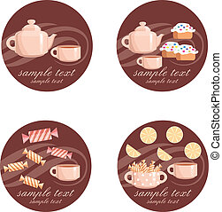 Tea set - Vector illustration, color full