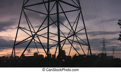 Electrical tower. Tower. - Hydro-electric tower at sunset...