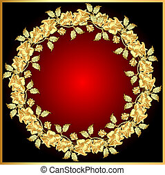 background with gold(en) rose on circle