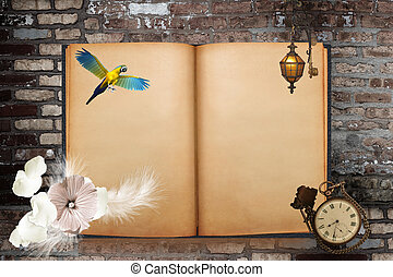 Old book - Old blanked book with parrot, flower, lantern and...
