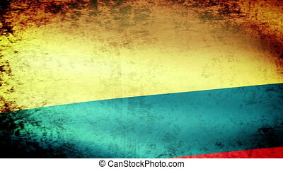 Colombia Flag Waving, grunge