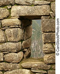 Window in Inca stone wall - Detail of window in Inca stone...