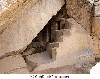 Inside sun temple in Machu Picchu