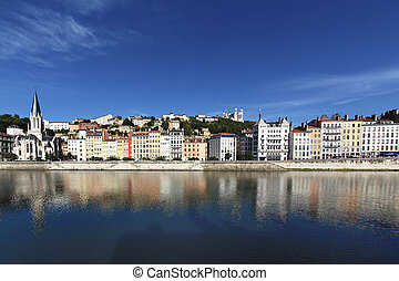 view of Lyon and Saone River in France, Europe