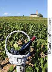 wine bottle and church - bottle of wine in basket in front...