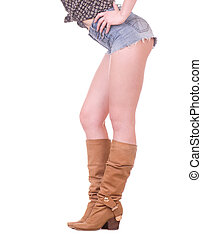 Pair of legs wearing cowboy boots