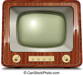 Old tv, vintage vector illustration