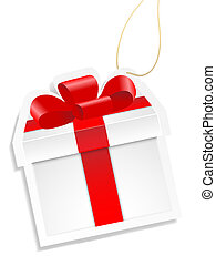 White gift box with red ribbon.