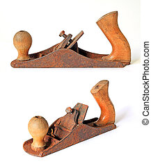 rusty jointer on white background
