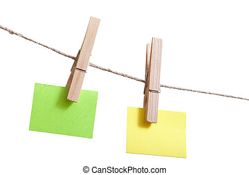 Sticky notes on a clothesline.