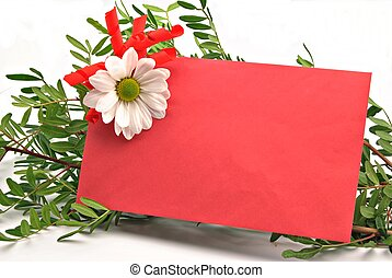 Red card decorated with a rose