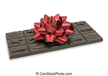 dark chocolate with red bow