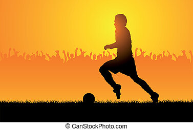 Play soccer - Backlighting shapes of men who play to soccer