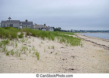 Morning Beach, Cape Cod - Sand dunes and beach home along...