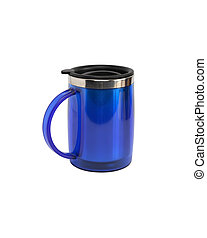 Coffee Thermos - Modern blue small thermos isolated on white...