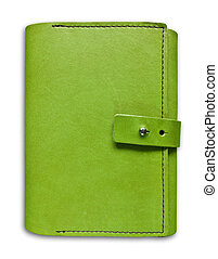 green leather case notebook isolated on white background