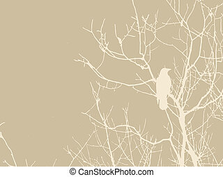 crow silhouette on brown background